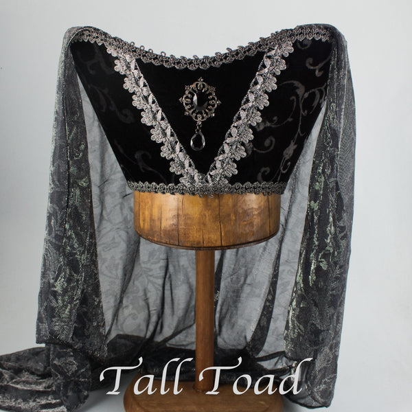 Fancy Horned Headdress - Black Silver Velvet /Silver Metallic Veil / Black Jewel - Tall Toad