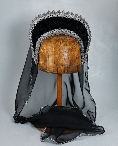 Large French Hood - Black Embossed Velvet / Silver Trim / Black Veil