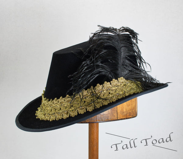 Tall Hat - Black/ Antique Gold Smooth Velvet - Tall Toad