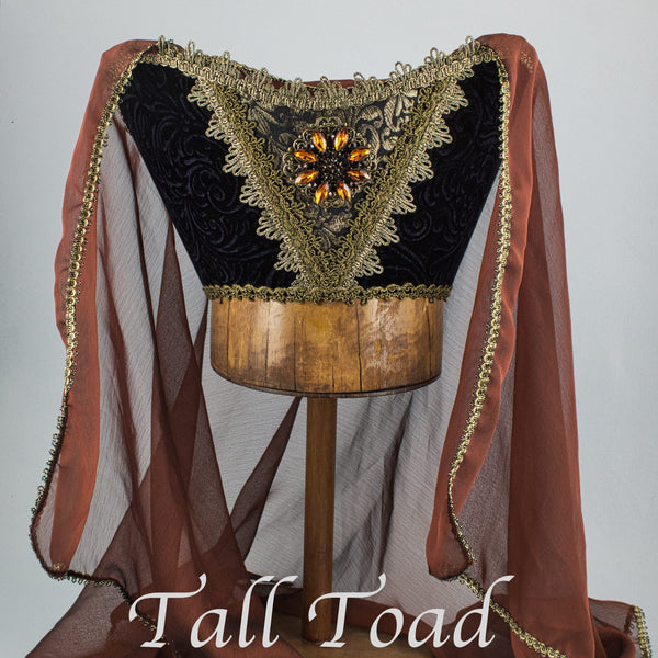 Fancy Horned Headdress - Black Velvet / Amber Jewel / Brown Wine Veil - Tall Toad