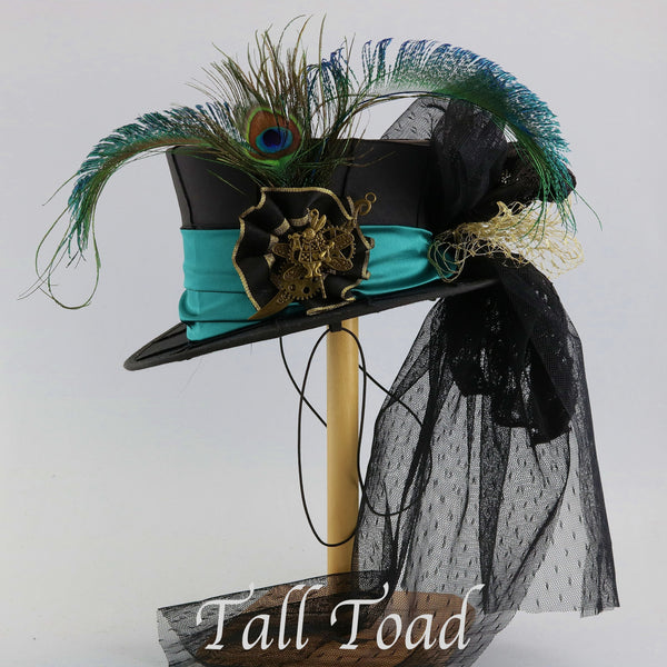 Mini Top Hat - Black Taffeta Teal Band / Peacock Feathers - Tall Toad