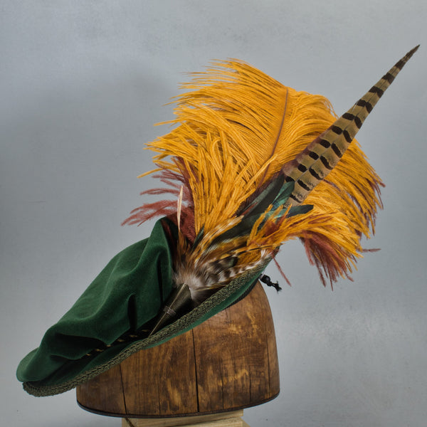 Long Fancy Feather Hat Pin -  Butterscotch Cinnamon - Tall Toad