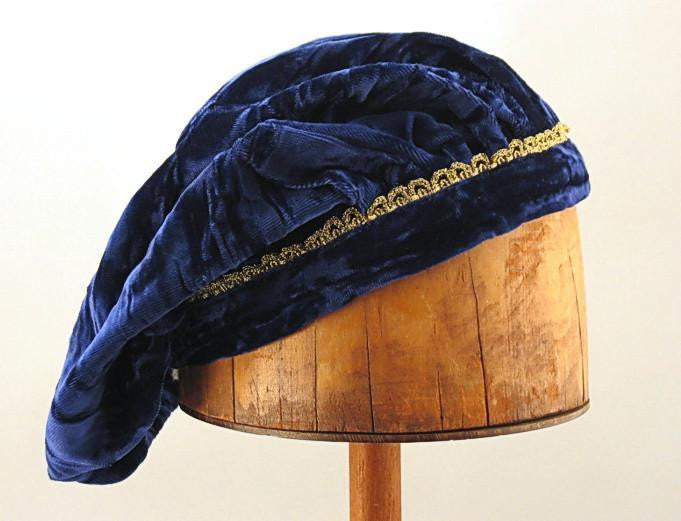 Crushed Velvet Beret - Blue / Gold Trim - Tall Toad