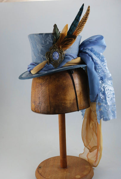Mini Top Hat - Chambray Blue Brocade / 2 Color Twist Chiffon / Cameo