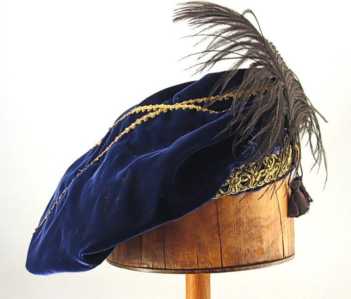 Feathered Beret - Blue / Gold - Tall Toad