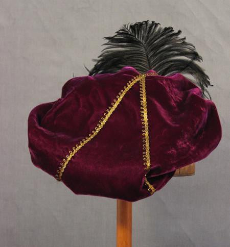 Feathered Beret - Eggplant / Gold - Tall Toad