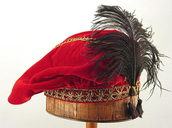 Feathered Beret - Red / Gold - Tall Toad
