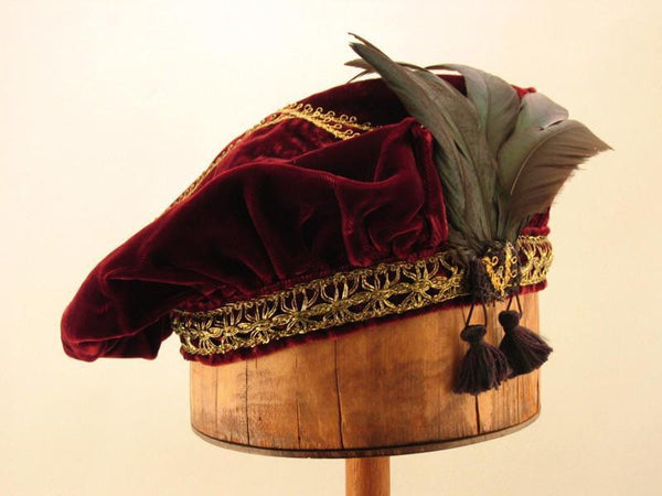 Feathered Beret - Ruby Wine / Gold - Tall Toad