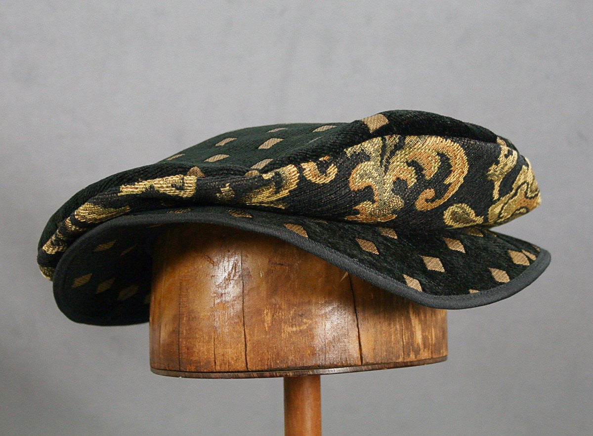 Flat Cap - Black Diamond Chenille - Tall Toad