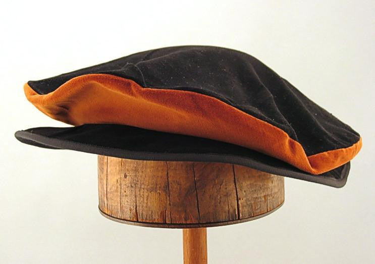 Cotton Velveteen Flat Cap - Black / Caramel - Tall Toad