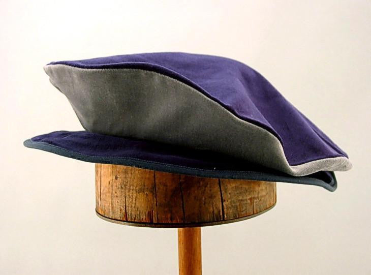 Cotton Velveteen Flat Cap - Navy / Silver - Tall Toad