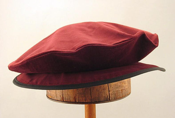 Cotton Velveteen Flat Cap - Ruby Wine - Tall Toad