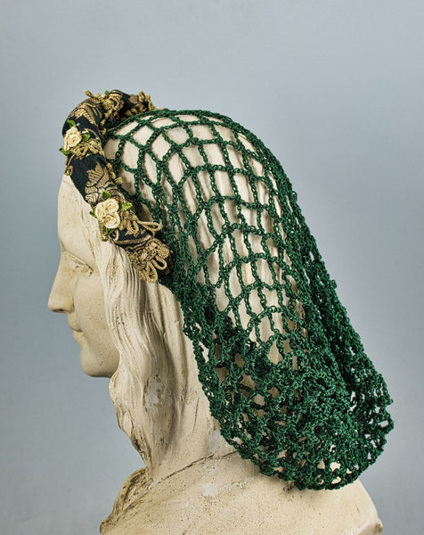 Headband Snood / Green Gold Metallic / Hand Crocheted Green Snood - Tall Toad