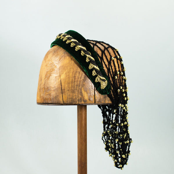 Large Headband Snood - Green / Gold Trim / Black Snood / Gold Beads - Tall Toad