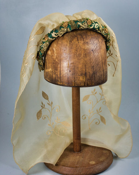 Headband With Veil - Green Gold Brocade / Silk Embroidered Veil / Roses