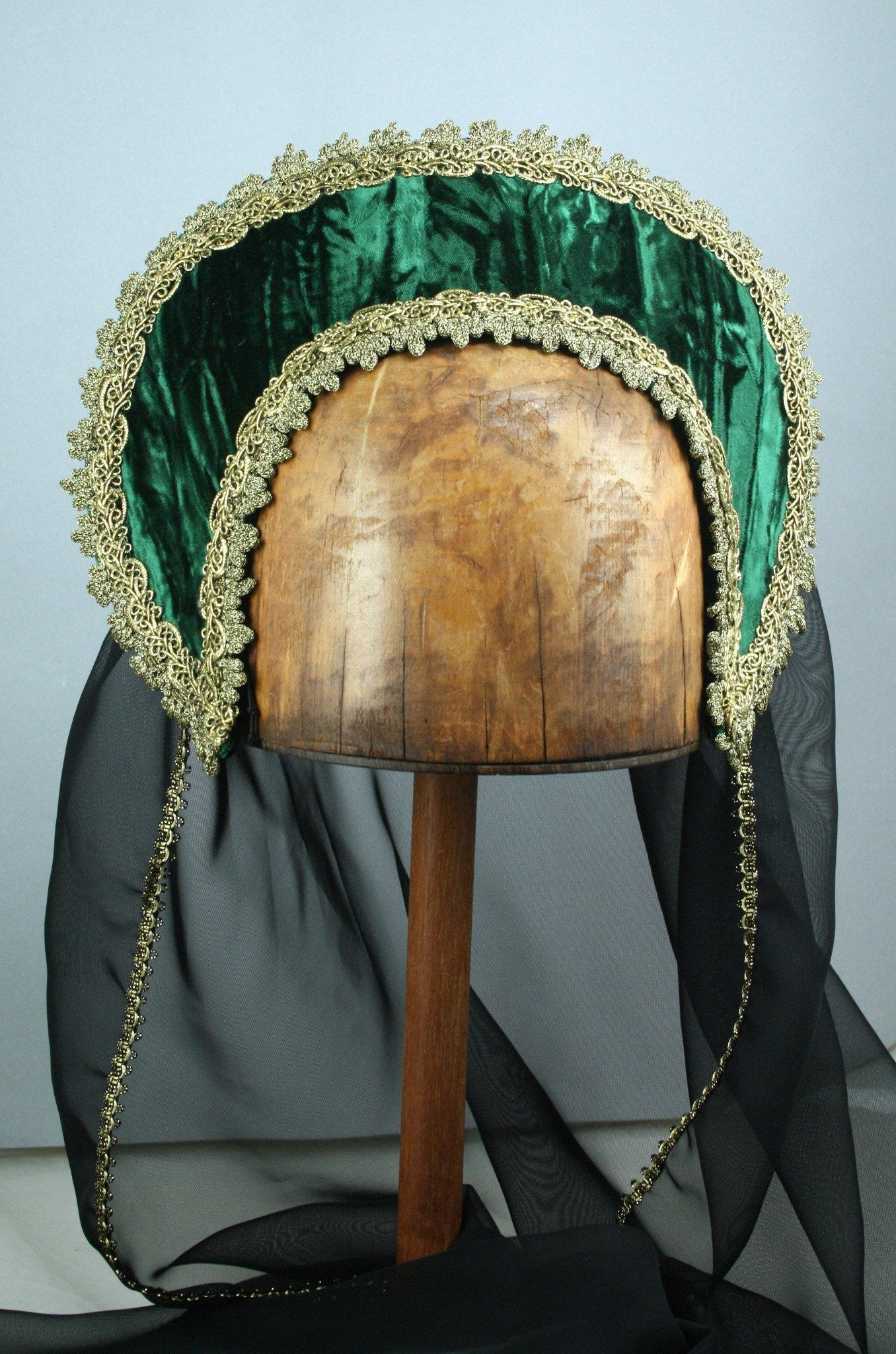 Large French Hood - Green Crushed Velvet / Gold Trim / Black Veil - Tall Toad