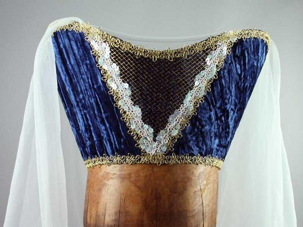 Horned Headdress - Blue Velvet / Gold Trim / Sequins / Veil - Tall Toad