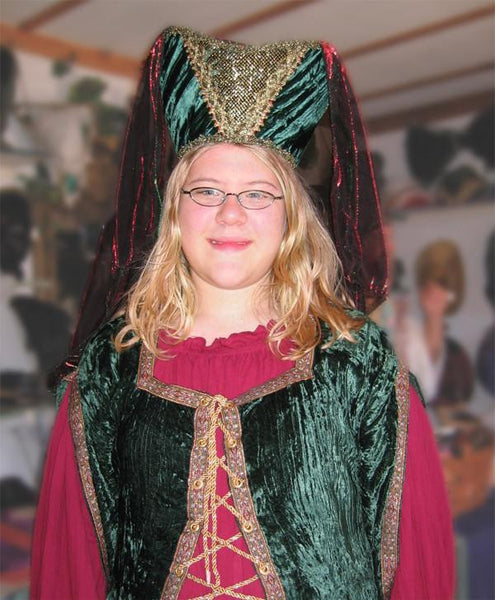 Horned Headdress - Green Velvet / Gold Trim / Green & Red Metallic Veil - Tall Toad