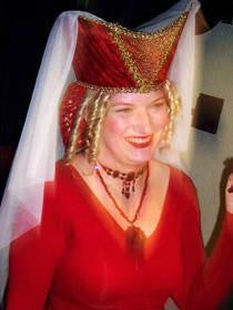 Horned Headdress - Red Velvet / Gold Trim / White Veil - Tall Toad