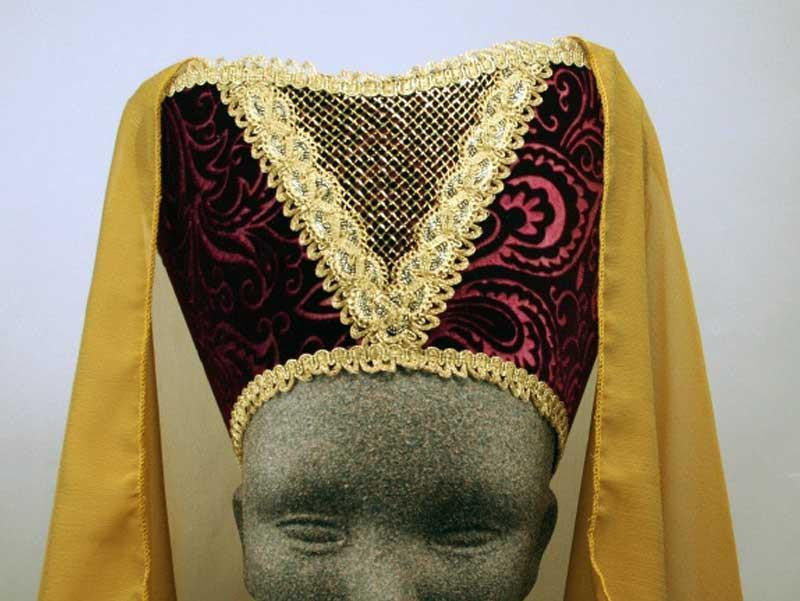 Horned Headdress - Wine Velvet / Gold Trim / Gold Chiffon Veil - Tall Toad