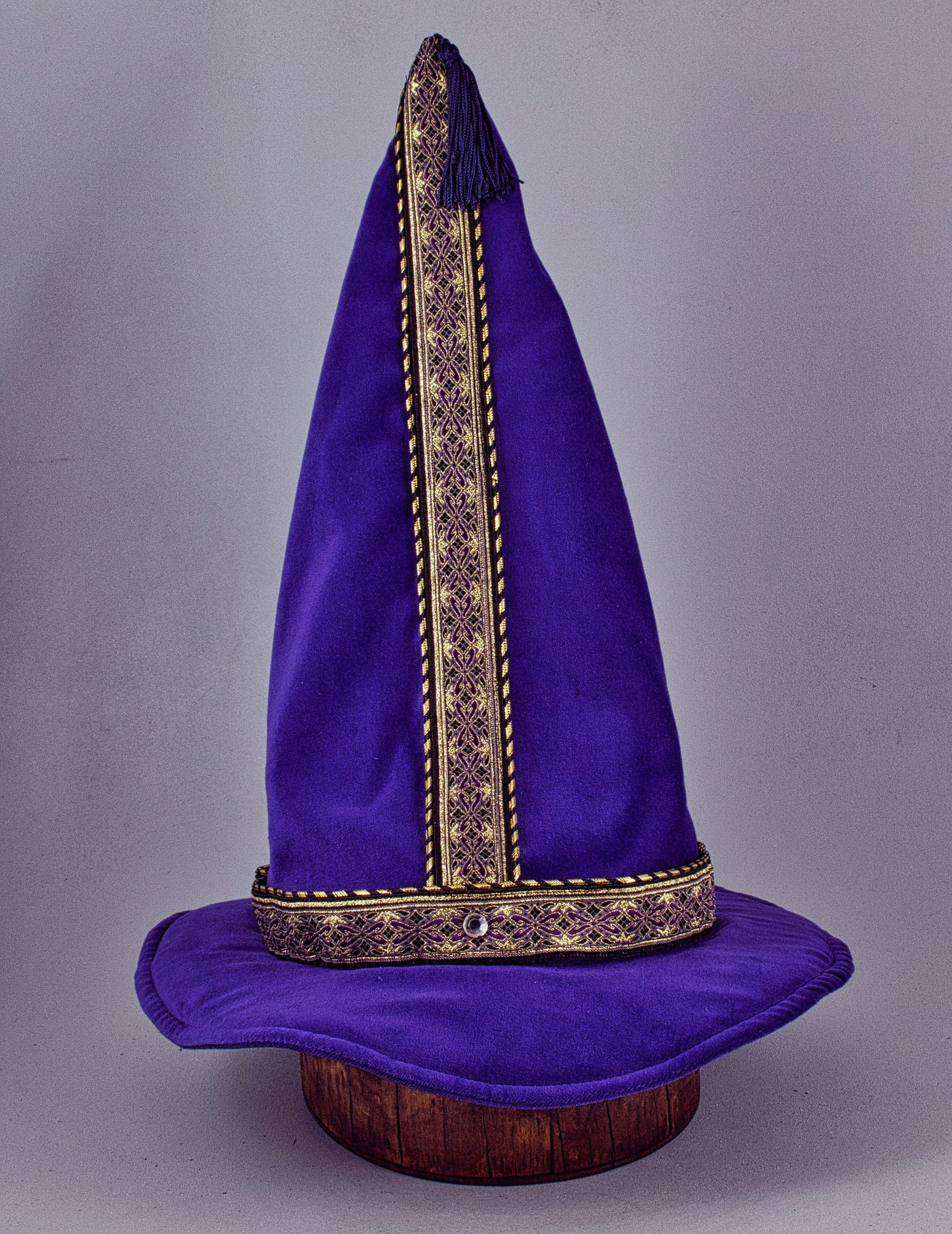 Cotton Velveteen Wizard Hat - Purple / Purple Gold - Tall Toad