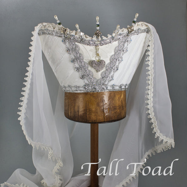 Fancy Horned Headdress - White Velvet / Rhinestone Heart / Pearl Stick Pins - Tall Toad