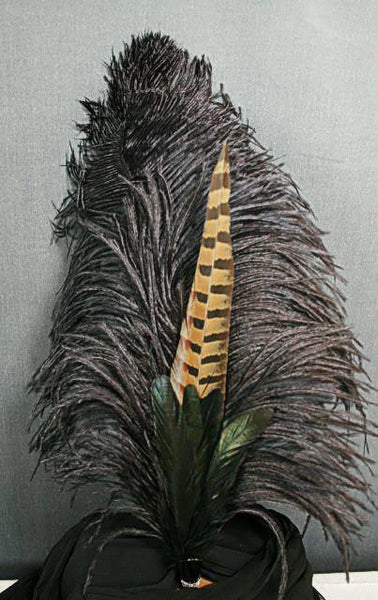 Long Fancy Feather Hat Pin - Double Black - Tall Toad