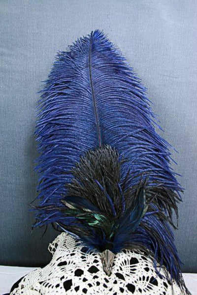 Long Fancy Feather Hat Pin - Navy Black - Tall Toad