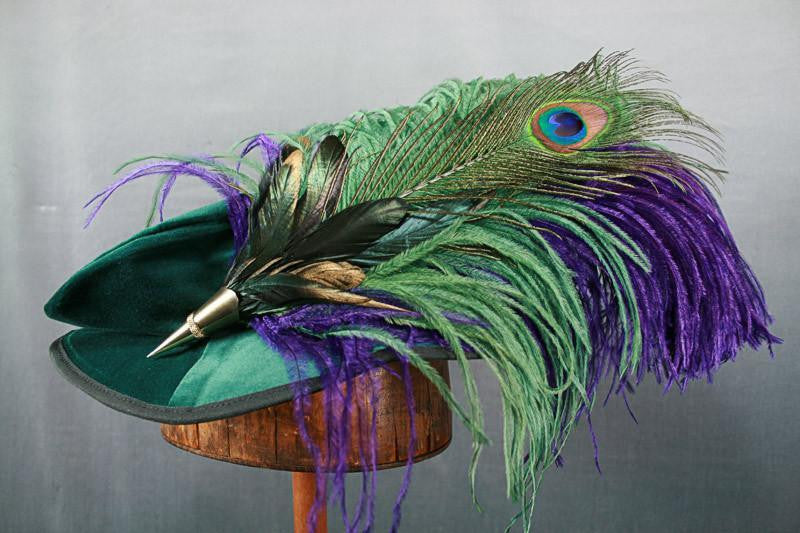 Long Fancy Feather Hat Pin - Green Purple - Tall Toad