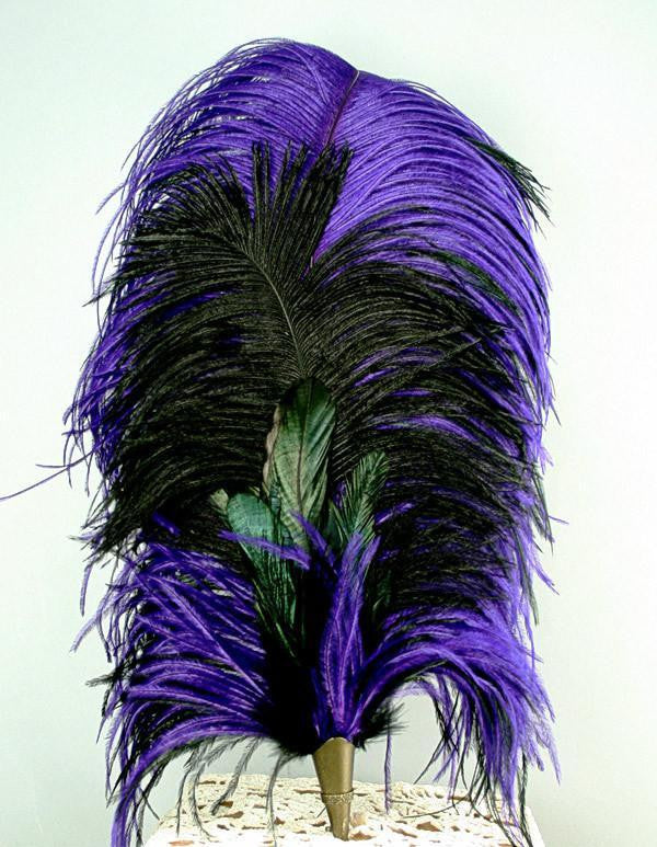Long Fancy Feather Hat Pin - Purple Black - Tall Toad