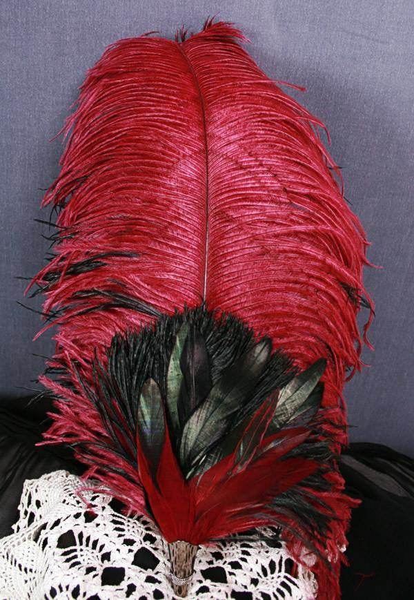 Long Fancy Feather Hat Pin - Wine Black - Tall Toad