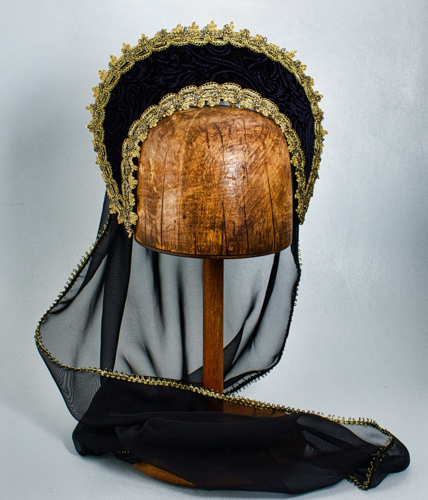 Large French Hood - Black Embossed Velvet / Gold Trim / Black Veil