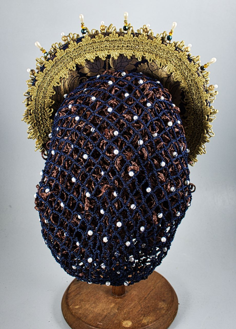 Hand Crocheted Snood - Blue Nylon / Pearls