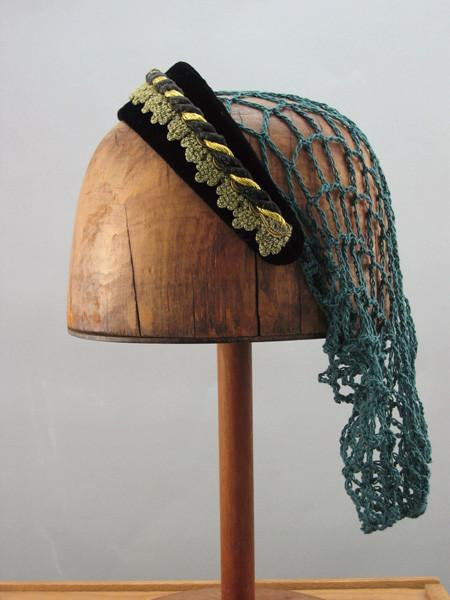 Large Headband Snood - Black / Gold Trim / Green Snood - Tall Toad