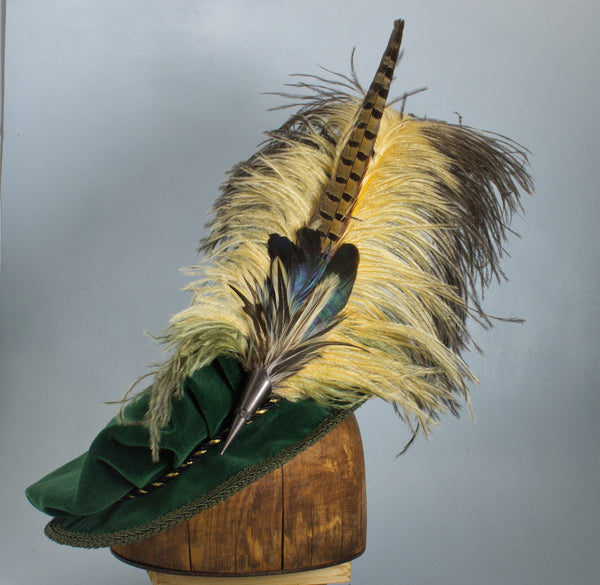 Long Fancy Feather Hat Pin - Natural Butterscotch Antique Green - Tall Toad