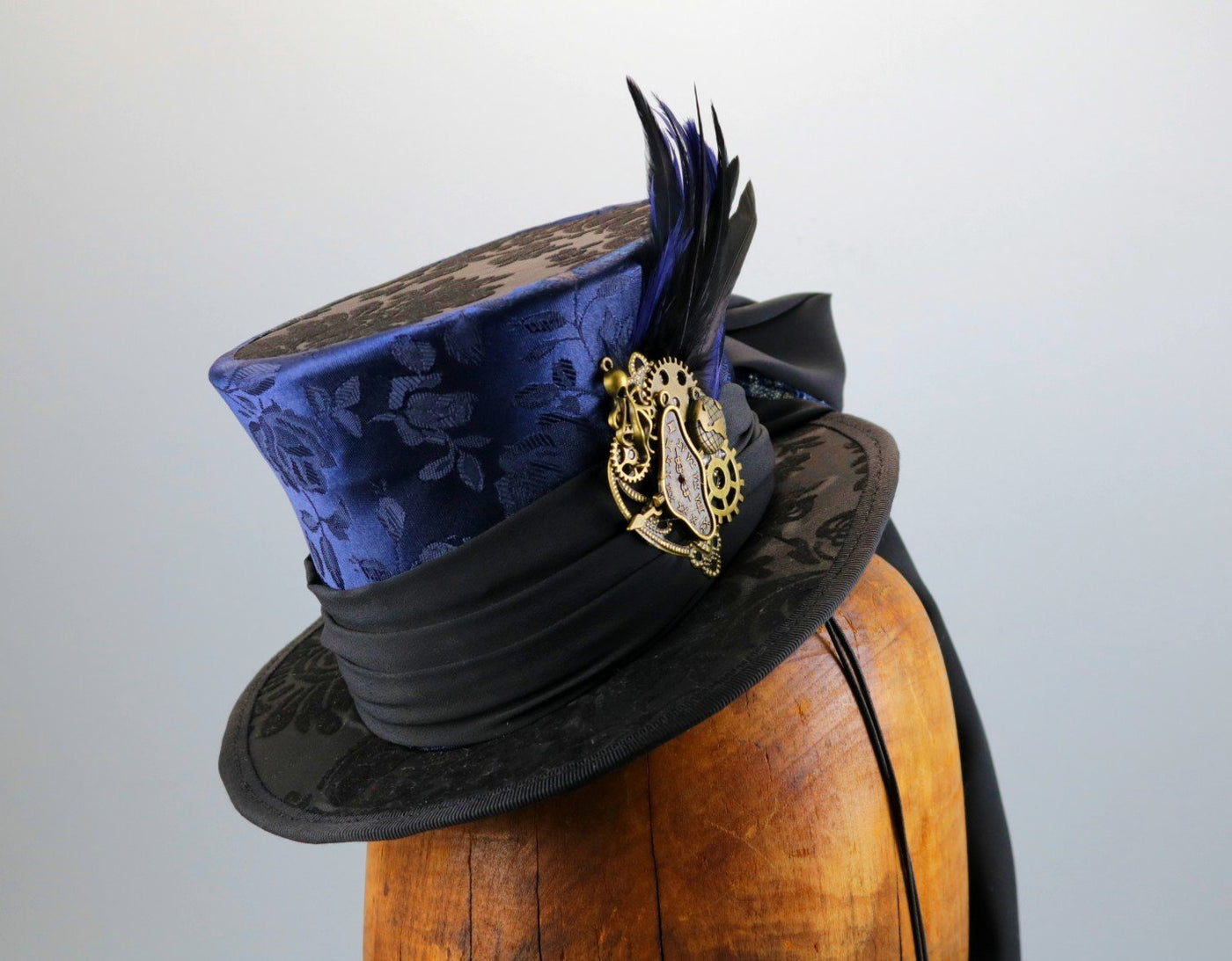 Mini Top Hat - Navy Brocade / Black Flocked / Steampunk Decorations