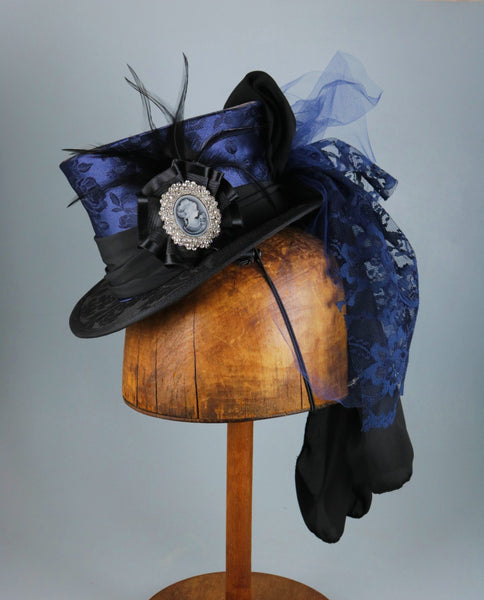 Mini Top Hat - Blue Black Brocade / Ribbon Cockade / Cameo