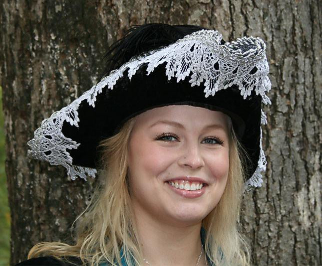 Pirate Hat - Black / Silver Metallic Lace (Large) - Tall Toad