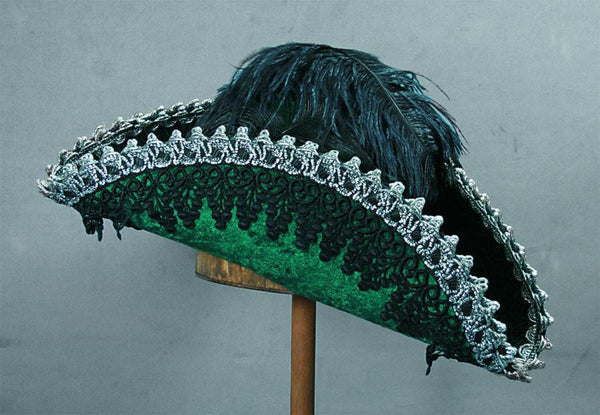Pirate Hat - Green / Silver / Black Lace (Large)