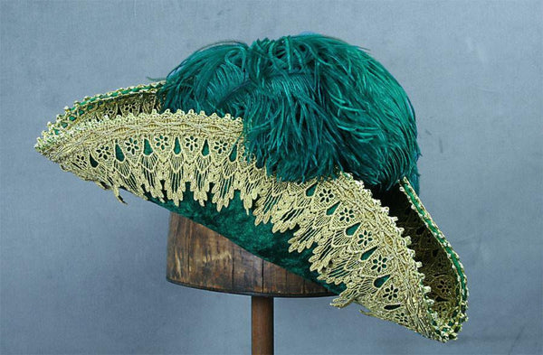 Pirate Hat - Green / Gold Metallic Lace - Tall Toad