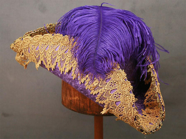 Pirate Hat - Purple / Gold Metallic Lace - Tall Toad