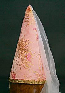 Steepled Hennin Cone - Pink Gold / White Veil - Tall Toad