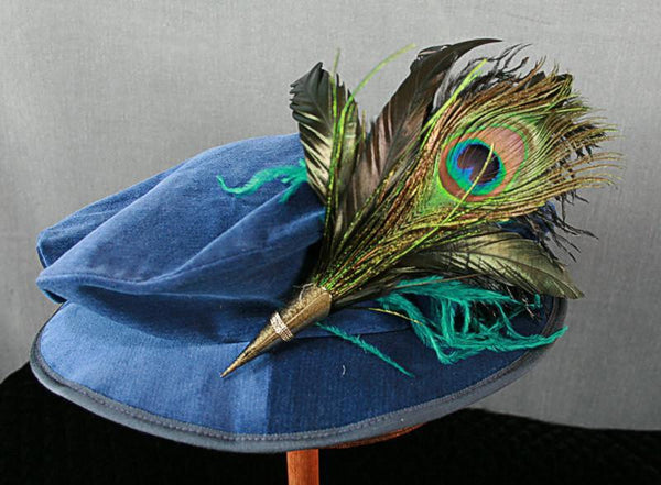 Short Feather Hat Pin - Peacock - Tall Toad