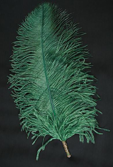 Single Plume Feather Hat Pin - Dark Green - Tall Toad