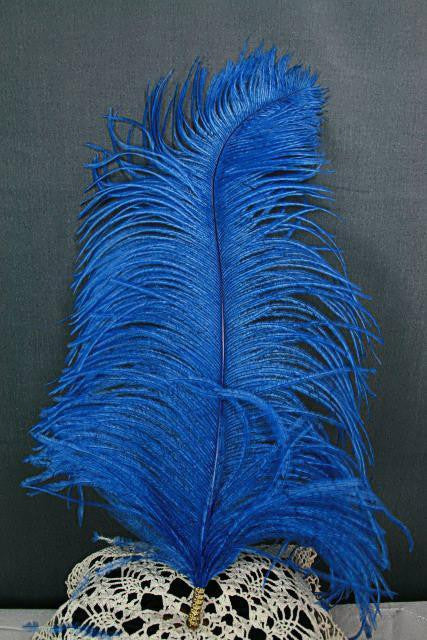 Single Plume Feather Hat Pin - Royal Blue - Tall Toad