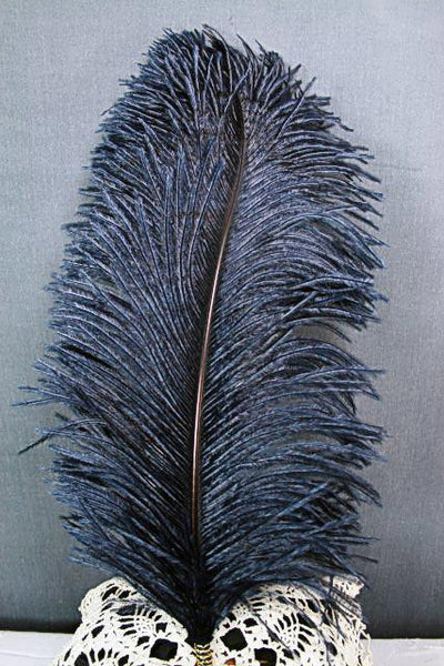 Single Plume Feather Hat Pin - Navy - Tall Toad