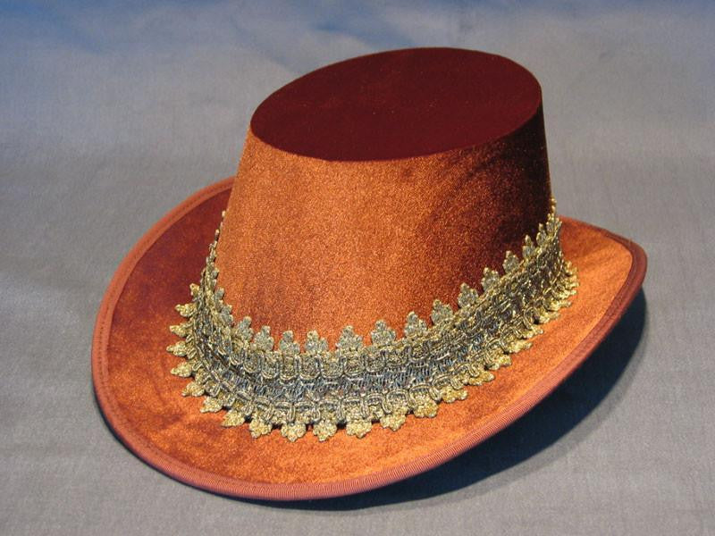 Tall Hat - Cinnamon / Gold Smooth Velvet - Tall Toad