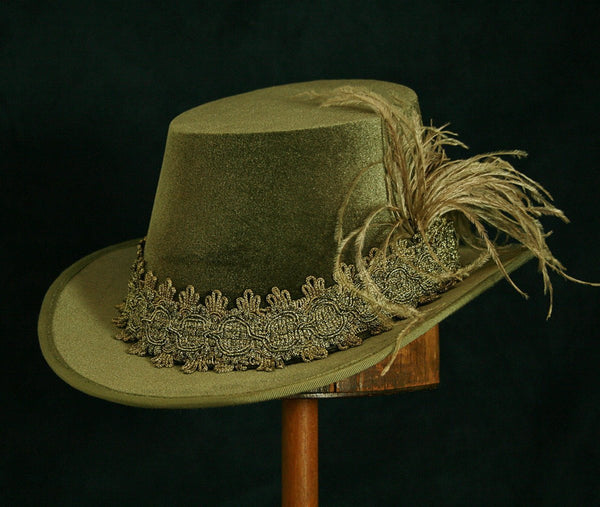 Tall Hat - Moss Green / Gold Smooth Velvet - Tall Toad