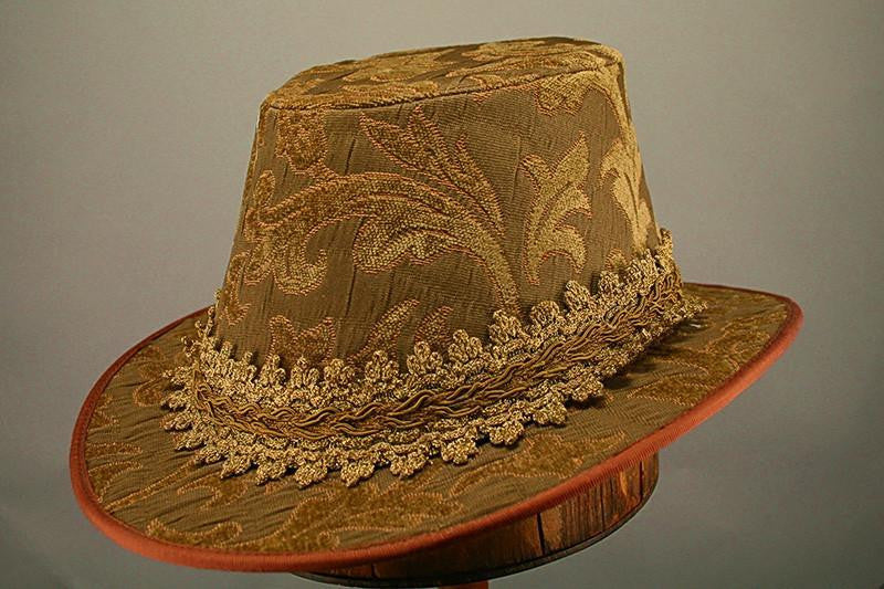 Tall Hat - Tan / Taupe Brocade - Tall Toad