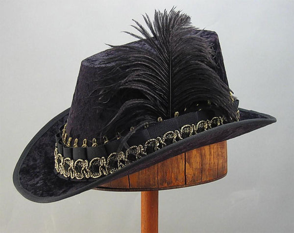 Crushed Velvet Tall Hat - Black / Black Gold - Tall Toad